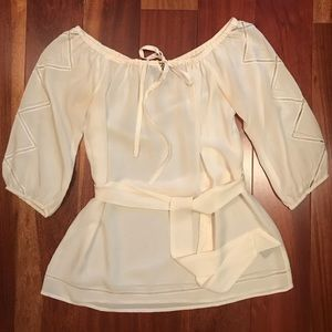Bebe off-white silk blouse